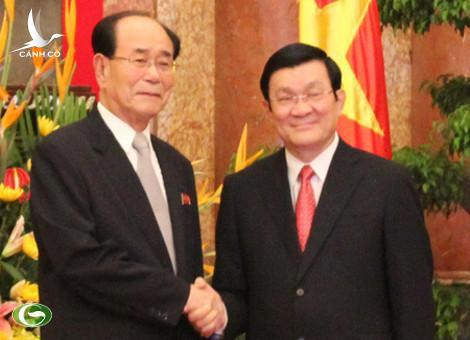 President Truong Tan Sang and chairman of the Presidium of the Supreme People's Assembly of the Democratic People's Republic of Korea (DPRK) Kim Yong-nam.