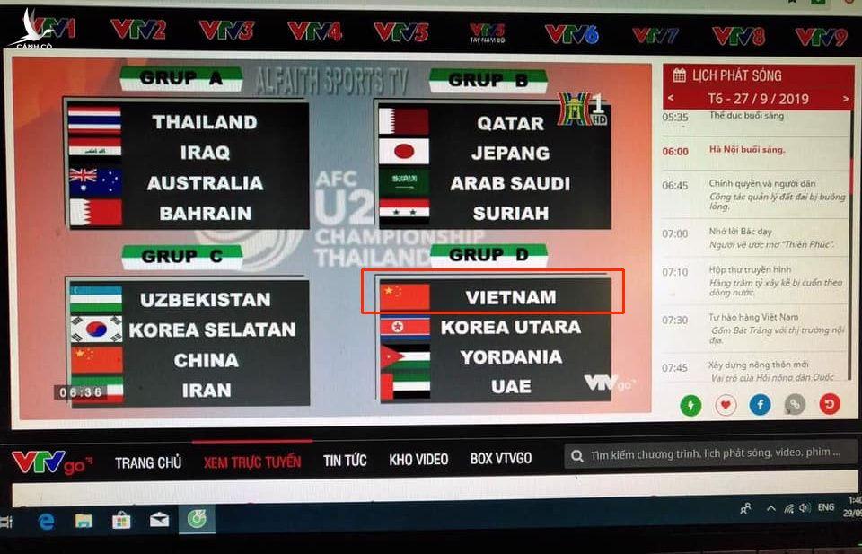 Đài truyền hình Hà Nội HTV lấy cờ Trung Quốc thay cờ Việt Nam tại giải U23 Châu Á