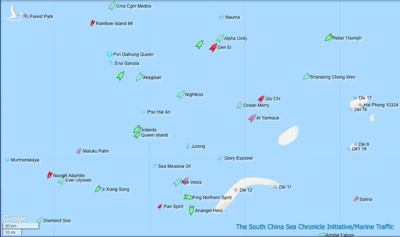 Hiện trạng khu vực bể Nam Côn Sơn và Bãi Tư Chính sáng ngày 5/9.