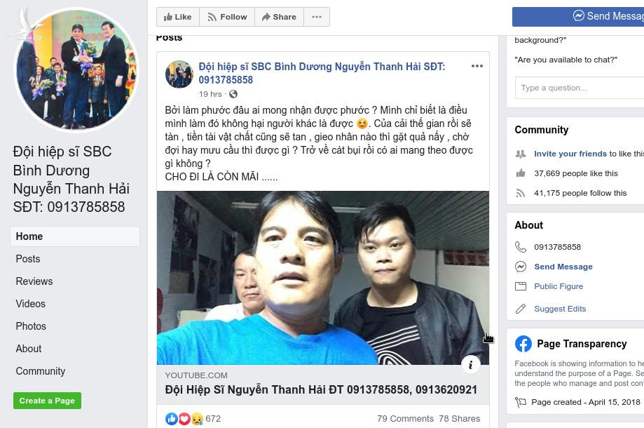 """Trang Facebook """"Đội hiệp sĩ SBC Bình Dương Nguyễn Thanh Hải SĐT: 0913785858"""" chia sẻ cip Đội trưởng Nguyễn Thanh Hải chia tay hiệp sĩ"""