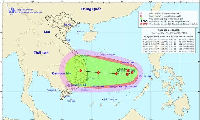 Vị trí và đường đi của bão số 6. Ảnh: NHCMF
