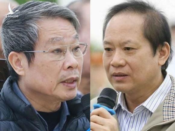 Hai cựu Bộ trưởng Nguyễn Bắc Son và Trương Minh Tuấn /// Ảnh: TN