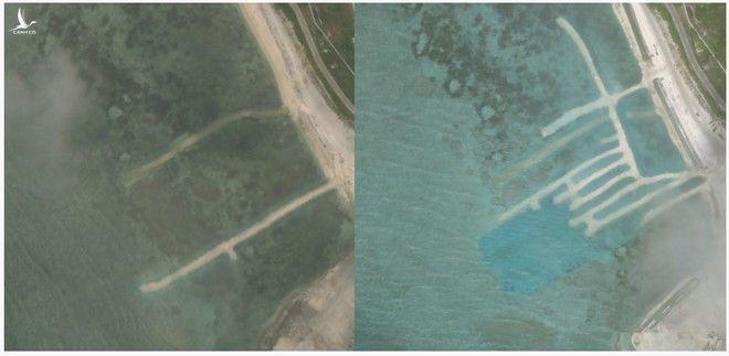 Ảnh chụp từ vệ tinh vào ngày 17.4 (trái) và ảnh chụp ngày 25.6 cho thấy có sự thay đổi tại một góc ở đảo Phú Lâm trong quần đảo Hoàng Sa thuộc chủ quyền Việt Nam nhưng đang bị Trung Quốc chiếm đóng phi pháp /// Chụp màn hình BenarNews