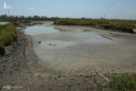Hố nước đọng ở lò gạch tại xã Hưng Tây kiệt sau 10 ngày bơm liên tục. Ảnh: Nguyễn Hải.