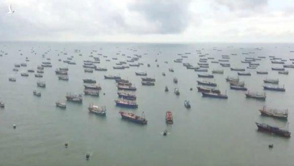 Đội tàu cá khổng lồ Trung Quốc đồng loạt ra khơi ở Biển Đông ngày 16.8 /// Ảnh chụp màn hình CCTV