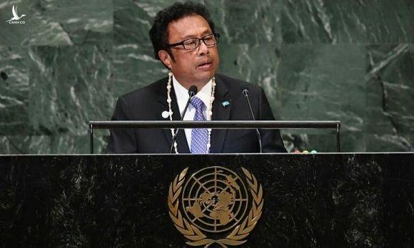 Tổng thống Palau Tommy Remengesau phát biểu tại kỳ họp Liên Hợp Quốc năm 2018. Ảnh: UN.