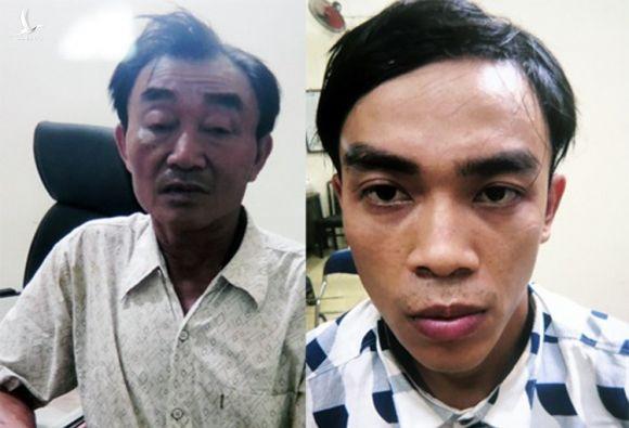 Nguyễn Khanh và con trai Nguyễn Tấn Thành lúc bị bắt, tháng 7/2018. Ảnh:Công an cung cấp.