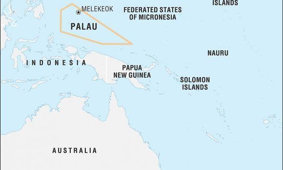 Vị trí Palau trên bản đồ. Đồ hoạ: Britannica.
