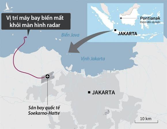 Đường bay và vị trí chiếc Boeing 737-500 của hãng Sriwijaya Air biến mất khỏi radar hôm 9/1. Đồ họa: AFP.