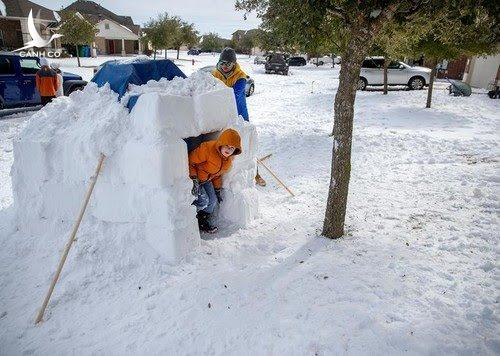 Hai cha con Brett Archibad xây nhà tuyết. Ảnh: Reuters