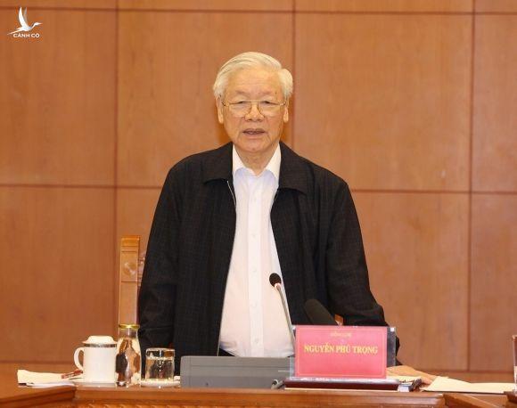 Tổng Bí thư, Chủ tịch nước Nguyễn Phú Trọng phát biểu kết luận cuộc họp.