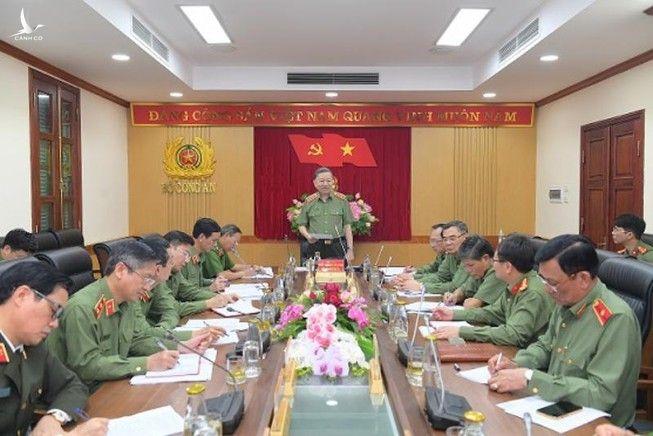 Bộ trưởng Tô Lâm phát biểu tại buổi làm việc. Ảnh: Bộ Công an