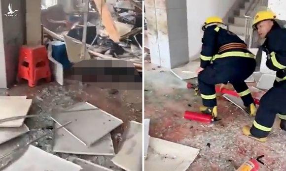 Hiện trường vụ đánh bom ở làng Mingjing, tỉnh Quảng Đông, Trung Quốc hôm 22/3. Ảnh: Jiemian.