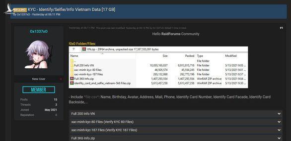 Thông tin rao bán 17GB dữ liệu gồm thông tin cá nhân nhiều người Việt của tài khoản Ox1337xO trên diễn đàn RaidForums (hiện đã bị xóa)