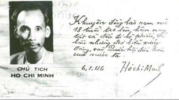Lời kêu gọi đồng bào đi bỏ phiếu bầu Quốc hội đầu tiên nước ta của Chủ tịch Hồ Chí Minh, ảnh: tư liệu