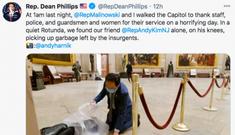 Nghị sĩ Mỹ quỳ xuống nhặt rác trong điện Capitol