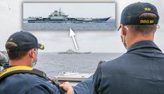 Hạm trưởng Mỹ gác chân ngồi xem tàu sân bay Trung Quốc